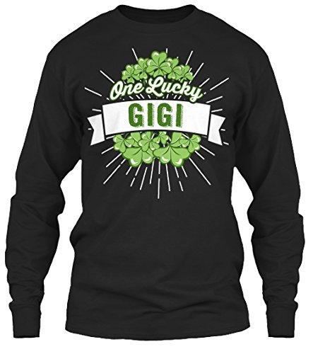 One Lucky Gigi Lng Sleeve Long Sleeve Tshirt - 5XL - Black - Gildan 6.1oz Long Sleeve Tee