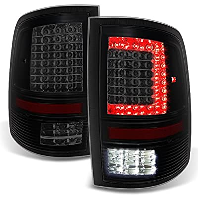Fits 2009-2020 RAM 1500 | 10-18 2500/3500 C-Shaped Black Smoked LED Tail Lights Left + Right Side Replacement: Automotive