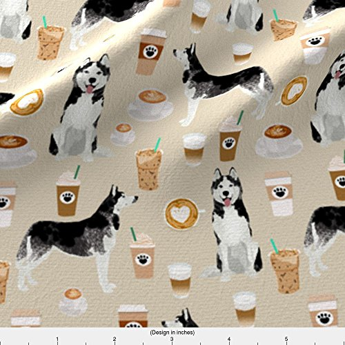 Gruff Fabric Husky Coffee Fabric Cute Dog Fabric Best Quilting Fabrics Cute Huskies And Coffees Fabric Best by Petfriendly Printed on Kona Cotton Ultra Fabric by the Yard by Spoonflower