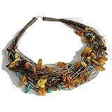 Collier Ambre En Feuilles Adulte Multicolore 50 cm - argent sterling 925 - Ambre Multicolore et Turquoise