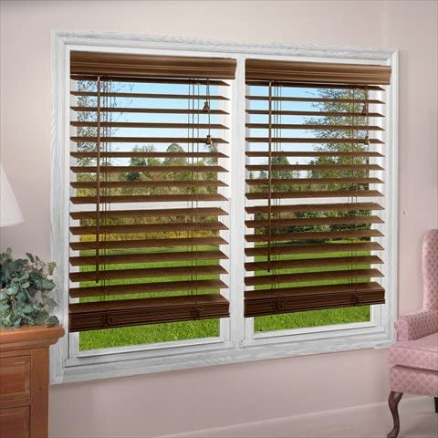 DEZ Furnishing QADO700360 2 in. Faux Wood Blind44 Dark Oak