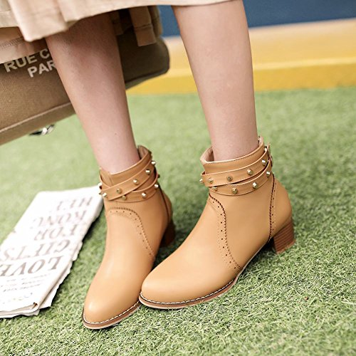 Charm Foot Womens Chunky Rivets Mid Heel Zipper Winter Ankle Boot Apricot syuiY