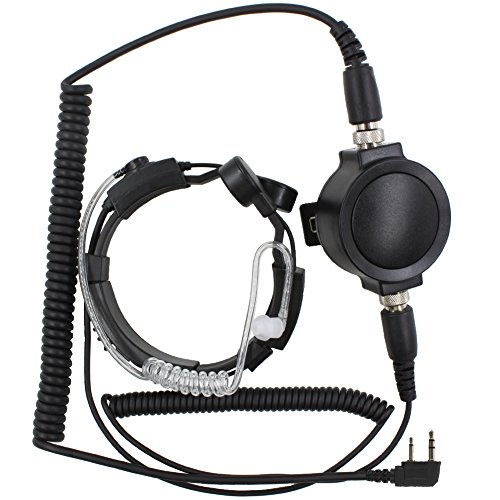 KENMAX Military Covert Grade Tactical IP54 Waterproof PTT Anti-Noise Telescopic Throat Mic Earpiece Headset for ICOM Radio IC-F10 IC-F1020 IC-F11 IC-F11S IC-F12N IC-F12SN
