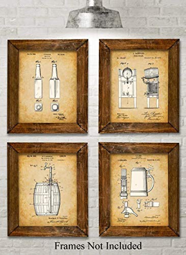 Original Beer Patent Art Prints - Set of Four Photos (8x10) Unframed - Makes a Great Gift Under $20 for Home Brewers or Man - Brewery Wall