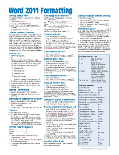 Word 2011 for Mac: Formatting (Intermediate) Quick Reference Guide (Cheat Sheet of Instructions, Tips & Shortcuts - Laminated Card)
