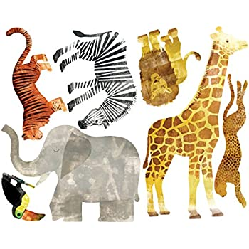 Wallies Vinyl Wall Decals, Peel and Stick Wild Safari Animal Wall Stickers, 7 Pc
