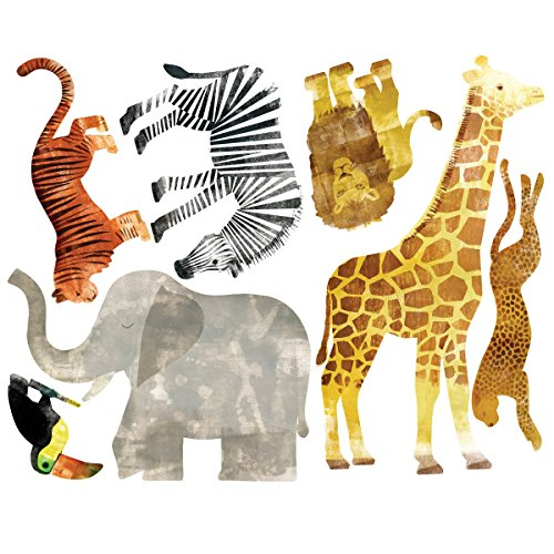 Wallies Wall Stickers - Wallies Wall Decals, Wild Animals Wall Stickers, Set of 7
