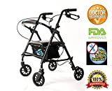Lightweight Rollator Walker with Seat and Brakes, Super Light Rollator Lightweight Aluminum Walker with Seat and Basket, Brakes, 6' Wheels, Easy Adjustable Rollator Walker Seat and Arms, Blue