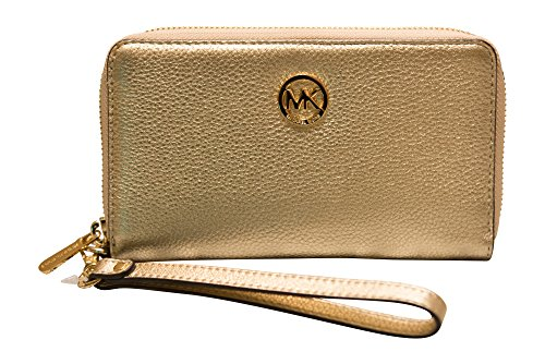 Michael Kors Fulton Large Flat Multifunction Leather Phone Case Wristlet, Pale Gold by Michael Kors