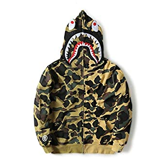 98e06111774f Image Unavailable. Image not available for. Color  A Bathing Ape Camo Bape  Zip Shark Head Camouflage Hoodie Coat ...