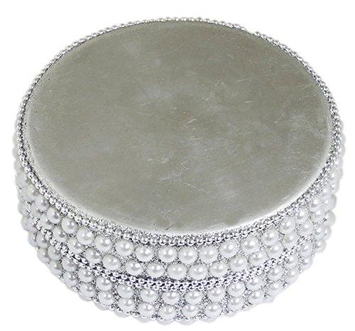 SKAVIJ Handmade Indian Jewelry Gift Box Handmade Round Metal and Beaded Decorative Diameter 4 Inch (White, Diameter - 4 Inch) by SKAVIJ (Image #3)