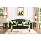 9 by Novogratz Vintage Tufted Sofa Sleeper II (Green Velour)