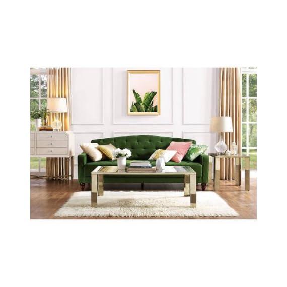 Novogratz Vintage Tufted Sofa Sleeper II (Green Velour) (Green Velour) -  - sofas-couches, living-room-furniture, living-room - 51rRuMs9OAL. SS570  -