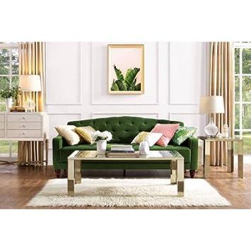 Novogratz Vintage Tufted Sofa Sleeper II Green Velour Green Velour