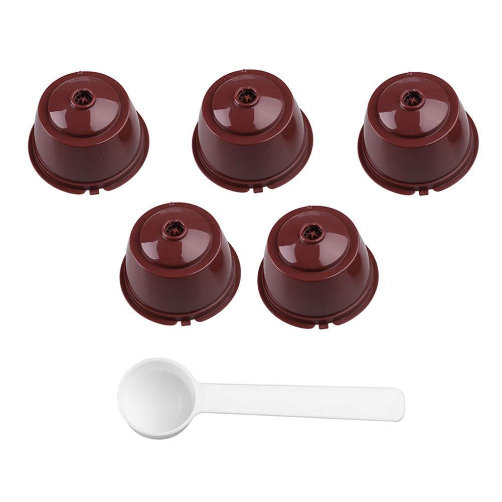 【2019 新作】 再利用可能なプラスチック製コーヒーカプセルカップフィルターバスケット5点セット スプーン付き 54*40mm/2.12*1.57