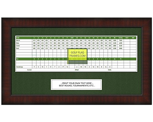 8x15 Mahogany Golf Scorecard Frame, Moulding brn-002, Green - Golf Scorecard Frame