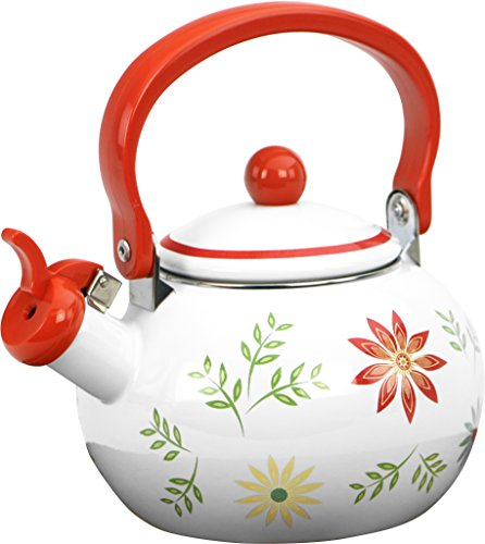 Corelle Coordinates by Reston Lloyd Harmonic Hum Alert Whistling Teakettle with Fold Down Handle, 2-Quart, Happy Days
