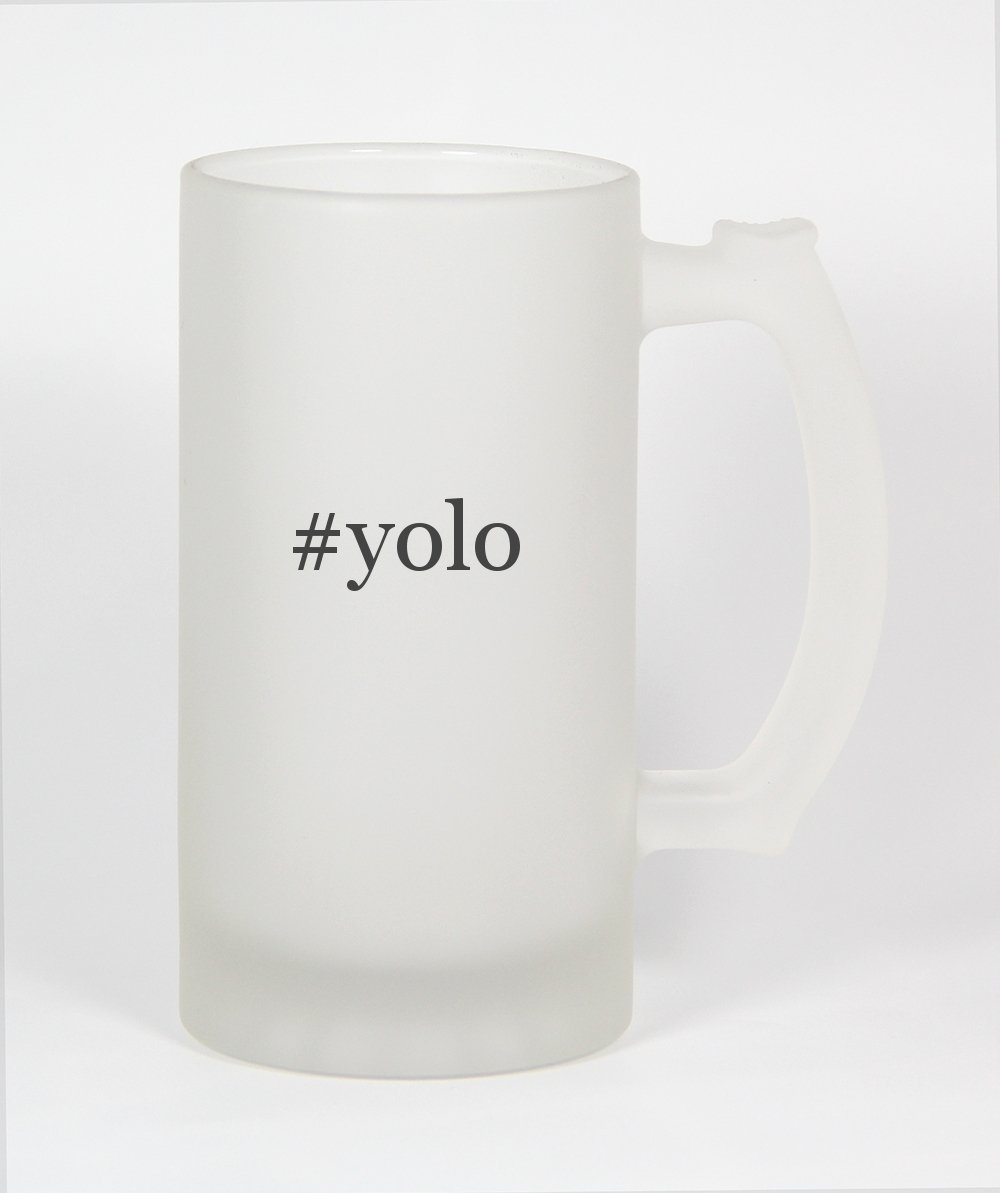 #yolo - Funny Hashtag 16oz Frosted Glass Beer Stein Knick Knack Gifts