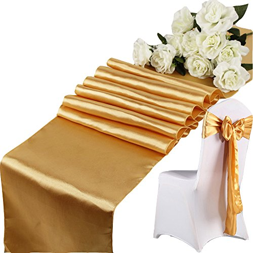 JMYDecor 10 Pack Mauve 12 x 108 inches Long Satin Table Runner for Wedding, Table Runners fit Rectange and Round Table Decorations for Birthday Parties, Banquets, Graduations, - 8 Satin Runner
