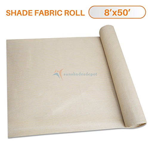 Sunshades Depot 8'x50' Shade Cloth 180 GSM HDPE Beige Fabric Roll Up to 95% Blockage UV Resistant Mesh Net