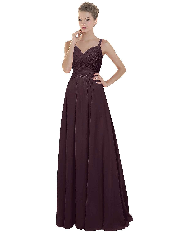 Burgundy ANGELWARDROBE Women's Fold Spaghetti Strap Bridesmaid Dresses Long Wedding Party Prom Skirts