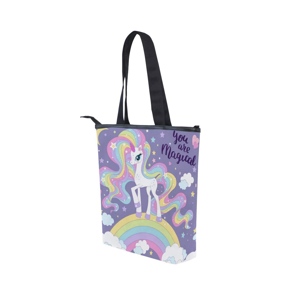 Women Large Tote Top Handle Shoulder Bags Beautiful Unicorn Rainbow Cloud Satchel Handbag
