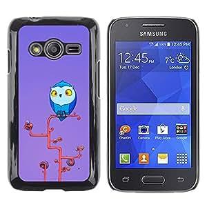 Be Good Phone Accessory // Dura Cáscara cubierta Protectora Caso Carcasa Funda de Protección para Samsung Galaxy Ace 4 G313 SM-G313F // Owl Blue Big Eyes Yellow Art Tree Branch