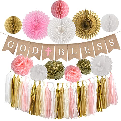 Baptism Decorations for Girl - Pink Christening party supplies - First Communion Decor - God Bless High Quality Burlap Banner With Pink Cross, Honeycomb, Paper fan, Paper Tassel, Pompoms - Pink Church Event Favor