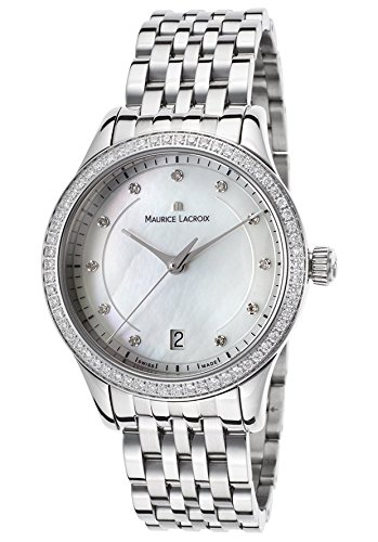 Maurice Lacroix LC1026-SD502-170 Women's Les Classiques Diamond Stainless Steel Mother of Pearl Dial