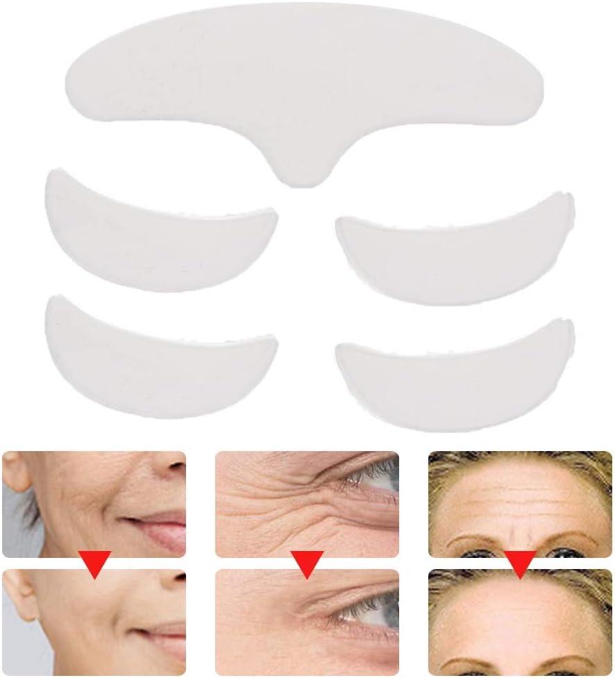 Parche de silicona antiarrugas de 5 piezas, varias formas reutilizable lavable frente ojo cara parche antienvejecimiento para prevenir y eliminar arrugas líneas finas estiramiento de la piel