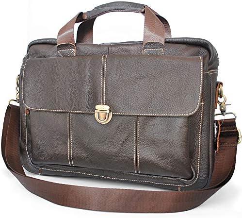 銀面牛革製 2way ショルダーストラップ付属 ビジネスバッグ チョコブラウン PC収納ポケット付き