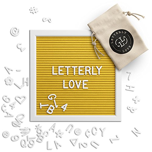 Letterly Love Letter Board - 10x10 White Frame - Yellow Felt (Nursery Sign Board)