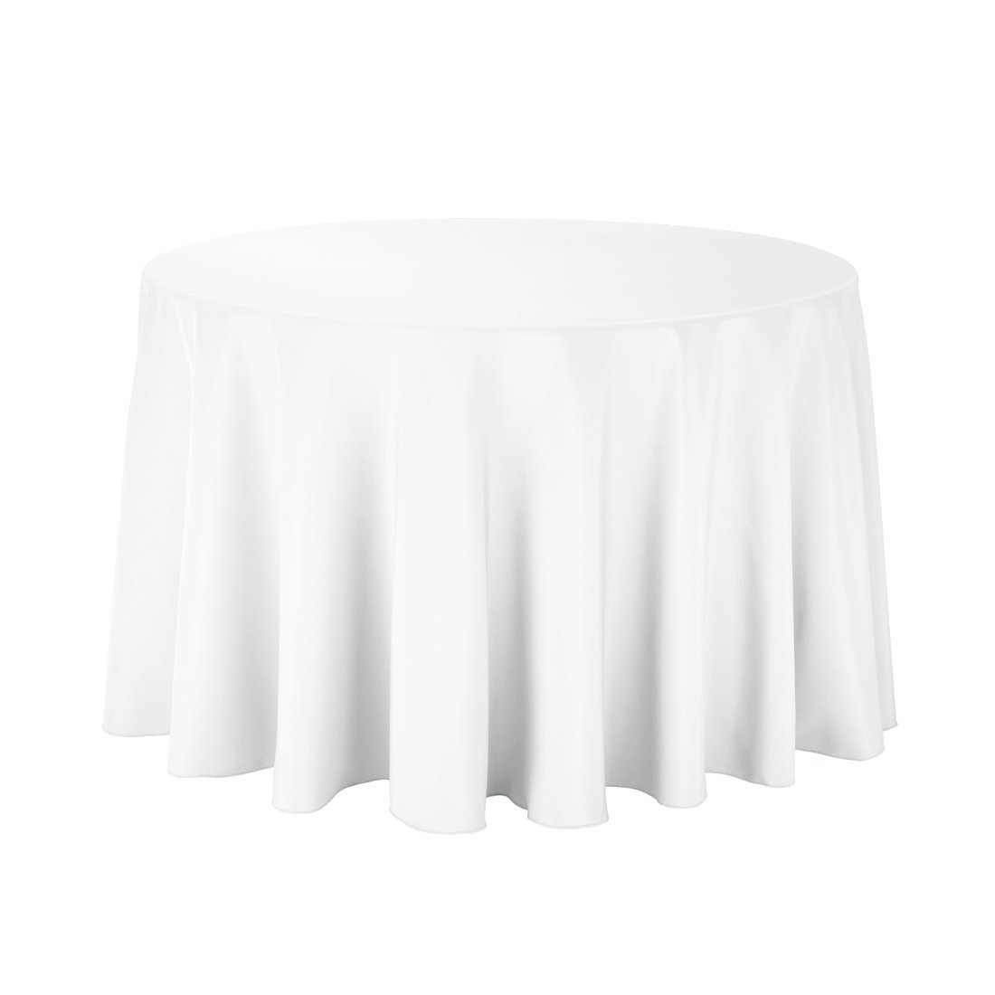 Gee Di Moda Tablecloth - 108'' Inch Round Tablecloths for Circular Table Cover in White Washable Polyester - Great for Buffet Table, Parties, Holiday Dinner & More