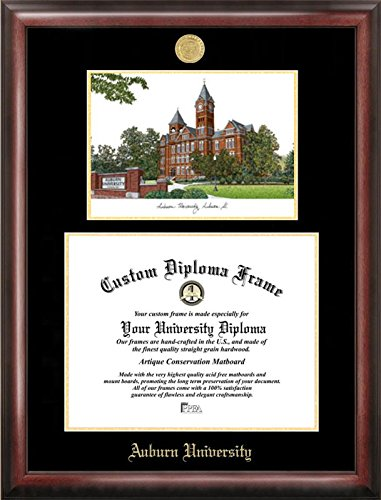 Campus Images Auburn University Embossed Diploma Frame with Lithograph Print, Gold (Diploma Auburn Frame)