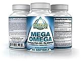 Mega Omega Premium Fish Oil, No Burp, No Fishy Aftertaste, 800mg EPA & 600mg DHA Enteric Coated. Molecular Distillation. For Sale