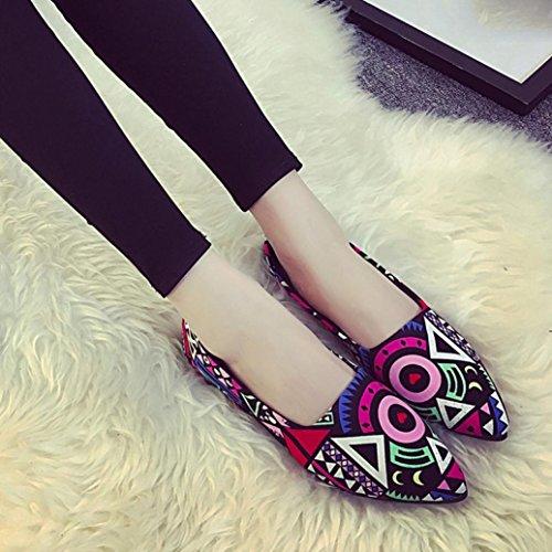 Familizo Femmes Chaussures Calico À Pour Pointu Multicolore Bout qqUSaw