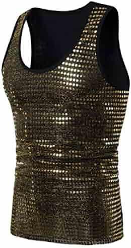 Zimaes-Men Silm Plus Size Sequins Colortone Cami Sweatshirt Vest
