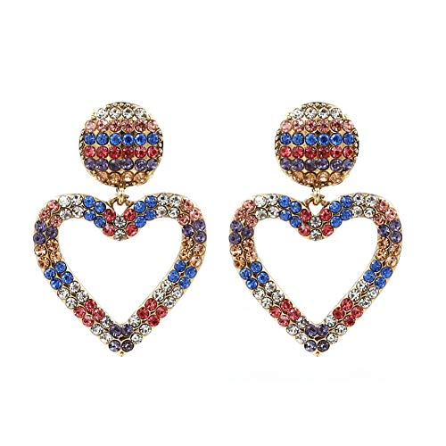 Colorful Crystal Open Heart Statement Drop Earrings KELMALL ()