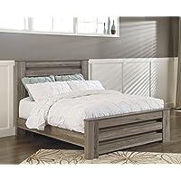Zerlien Casual Wood Warm Gray Color Queen Poster Bed