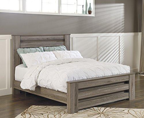 Oak Queen Poster Bed - Zerlien Casual Wood Warm Gray Color Queen Poster Bed
