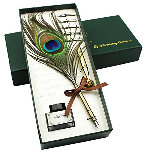 Luxury Feather Quill Pen Set Antique Dip Feather Pen with Holder and Ink Metal Nib Pen Gold Maple Leaf Shaft of Pen (Peacock Pen)