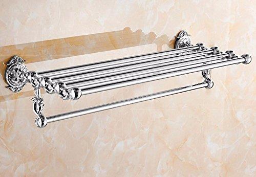 GGHYYO Towel shelf shower room kitchen Shelf Carved Holder Flowers Copper Tube Silver Color