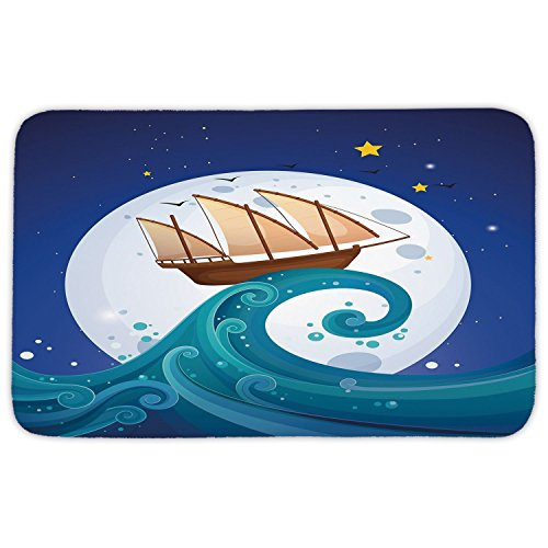 Rectangular Area Rug Mat Rug,Moon,Old Ship with Tempest Riding the Waves Full Moon and Stars Marine Cartoon Style Decorative,Blue Brown White,Home Decor Mat with Non Slip Backing ()