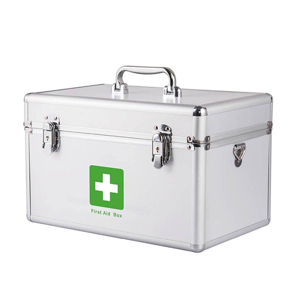 + メディカルボックスホーム多機能救急箱ロックアルミニウム合金医療ボックス収納ボックスの家族の薬箱と多層外来ボックスは、ショルダーストラップを運ぶことができます ## (サイズ さいず : M) Medium  B07KJFN5TJ