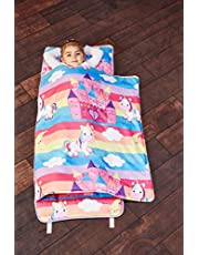 EVERYDAY KIDS Toddler Nap Mat with Removable Pillow - Rollup and Close with Velcro Straps, Carry Handle, Soft Microfiber for Preschool, Daycare, Kindergarten Sleeping Bag