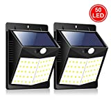 ZOYJITU Solar Lights Outdoor 50LED Solar Motion Sensor Security Lights, 1800mAh Waterproof Solar Outdoor Wall Lights for Gate Patio Yard Garage Garden Driveway Walkway Fence, Pack of 2