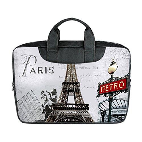 JIUDUIDODO Custom Stunning Eiffel Tower Nylon Waterproof Bag Computer Bag Handbag for Macbook Air 11