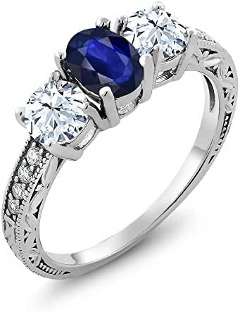 2.19 Ct Oval Blue Sapphire 14K White Gold Ring