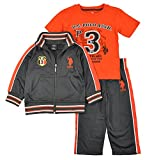 U.S. Polo Assn. Little Boys' Tricot Athletic Jog Set, Harvest Orange, 4T