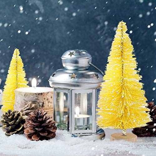LoveInUSA 34Pcs Mini Sisal Snow Frost Trees, Bottle Brush Trees 5 Sizes Christmas DIY Decoration Home Table Top Decoration Diorama Tree Models Gold